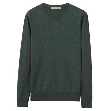 纯棉V领套头针织衫