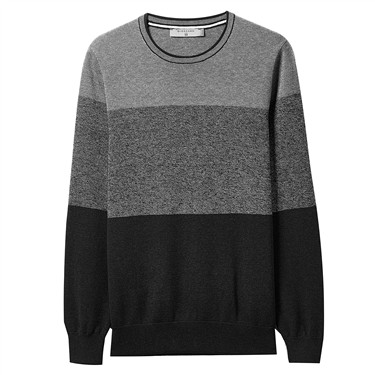 Combed cotton contrast pullover sweater