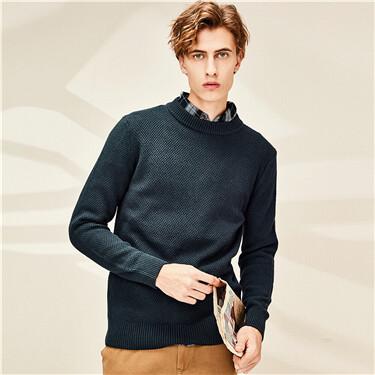 Thick crewneck plain sweater