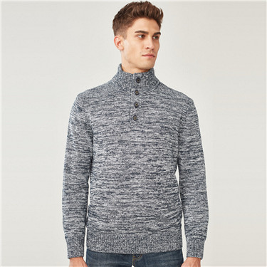 Cable-knit jacquard mockneck sweater