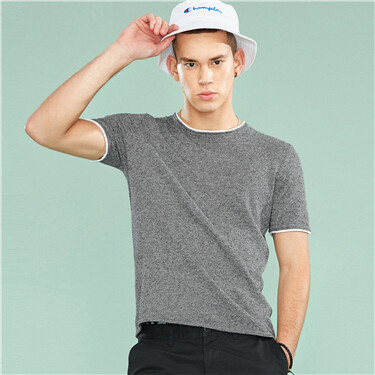 Linen-cotton crewneck knitted tee