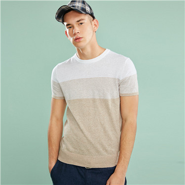Linen-cotton contrast color knitted tee