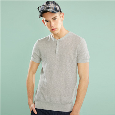 Linen-cotton henley neck knitted tee