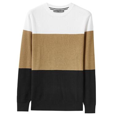 Contrast Stripe Crewneck Sweater