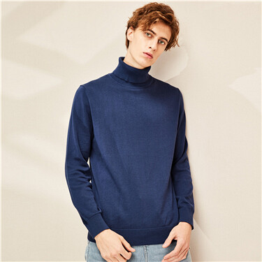 Combed cotton turtleneck sweater