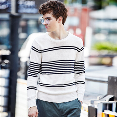 Thick stripe long-sleeve sweater