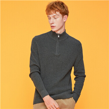 Mockneck half placket knitted sweater