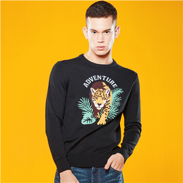 Graphic crewneck long-sleeve knitted sweater