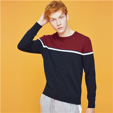 Contrast crewneck long-sleeve knitted sweater