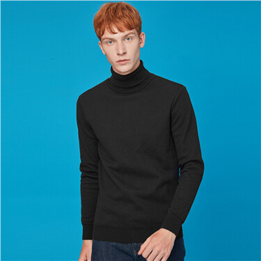 Fleece-lined turtleneck sweater