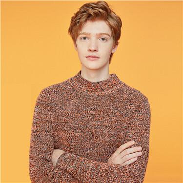 Mockneck long-sleeve knitted sweater