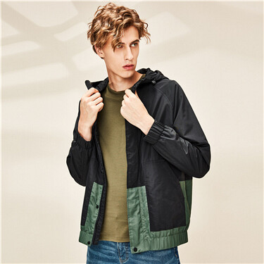 Contrast raglan sleeves hooded thin jacket