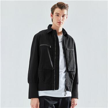 设计师合作纯棉工装拉链多袋夹克外套