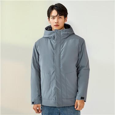 Multi-pocket padded hooded jacket