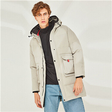 Thick cargo flap pockets hooded jacket