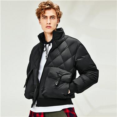 90%灰鸭绒菱格纹立领羽绒外套