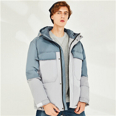 Contrast color 90% white duck down jacket