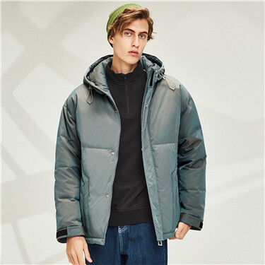 Hooded reflective 90% white duck down jacket
