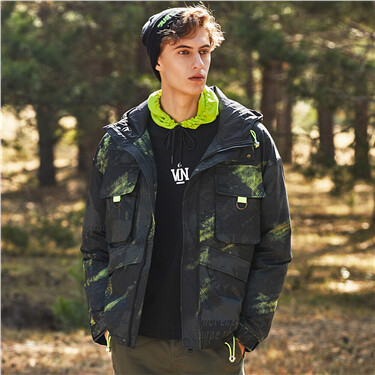 Camouflage hooded cargo 90% white duck down jacket
