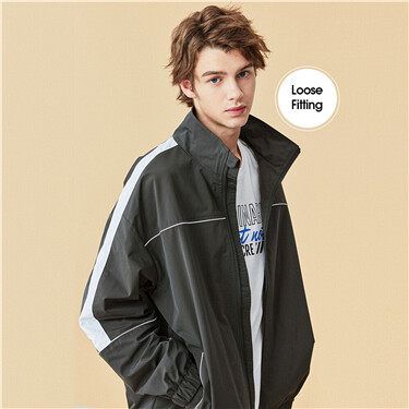 Contrast stand collar loose jacket