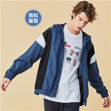 Contrast color stand collar loose hooded windbreaker