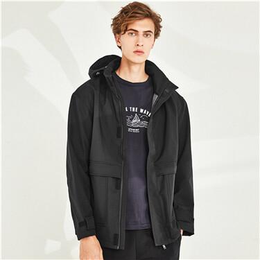 Hooded thin plain jacket