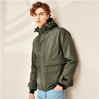 Hooded thin plain jacket