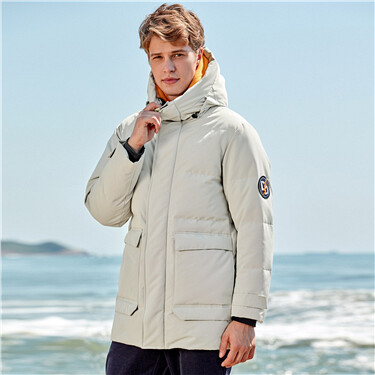 Hooded cargo  mid-long 90% white duck down jacket