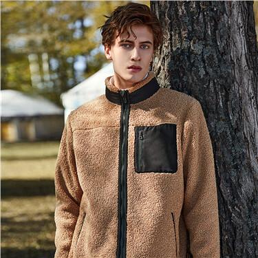泰迪绒撞色口袋立领夹克外套