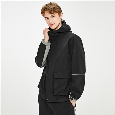 Contrast sleeves flap pockets hooded jacket
