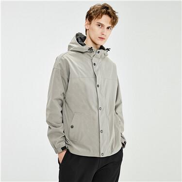 Dropped-shoulder multi-pocket hooded jacket