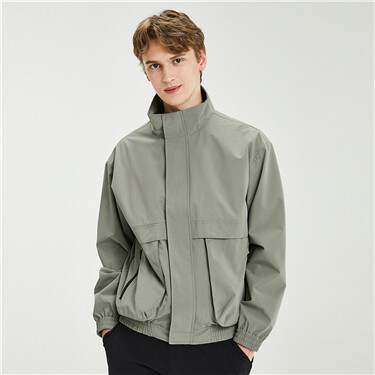 Dropped-shoulder stand collar cargo pocket jacket