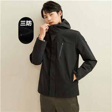 Cargo pockets hooded jacket