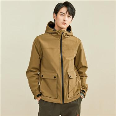 Cargo big flap pockets hooded jacket