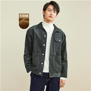 Corduroy cargo pockets jacket