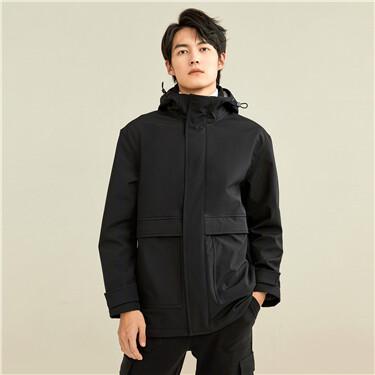 Polar fleece big patch pocket hooded jacket