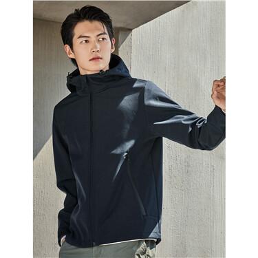 Polar fleece solid color hooded jacket