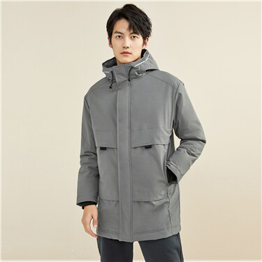 Mid-long contrast strap hooded coat