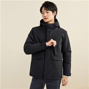Multi-pocket cargo hooded coat