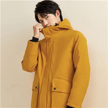 Flap pockets mid-long hooded coat