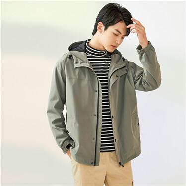 Loose dropped-shoulder cargo hooded jacket