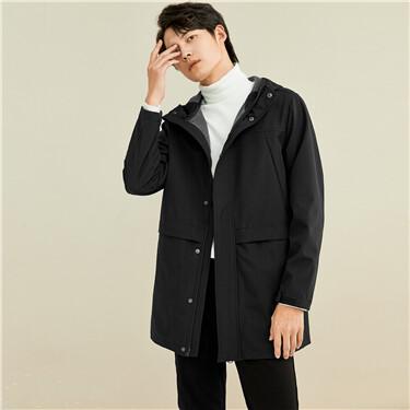 Polar fleece mid-long hooded jacket