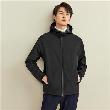 Polar fleece raglan sleeves hooded jacket