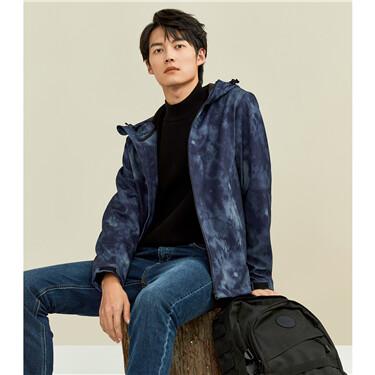 Polar fleece camouflage hooded jacket