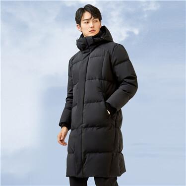 Detachable hood mid long goose down jacket