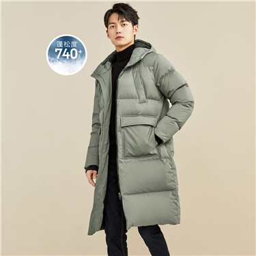 Mid-long hooded duck down jacket