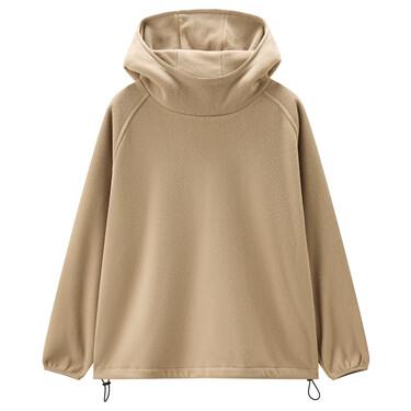 Polar fleece raglan sleeves loose hoodie