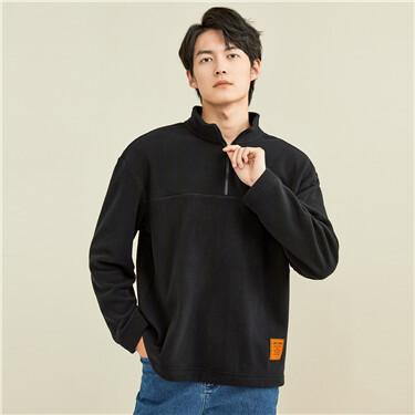 Polar fleece half placket sweatshirt