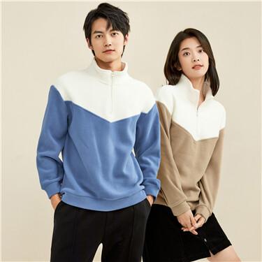 Polar fleece contrast stand collar sweatshirt