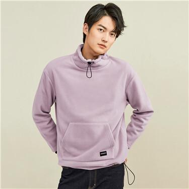 Polar fleece mockneck kanga pocket sweatshirt
